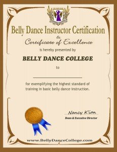 Belly Dance Instructor Certificate